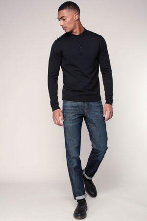 Pull fin coton noir col polo – Jack & Jones