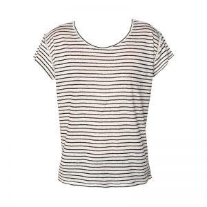 T-shirt en lin écru rayé en maille détail brodé ajouré emmanchures Romane – Sinéquanone