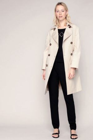 Trench coat ceinturé beige double boutonnage Viana – Sinéquanone
