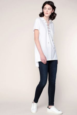 Top ample blanc asymétrique avec décolleté laçé – Ralph Lauren