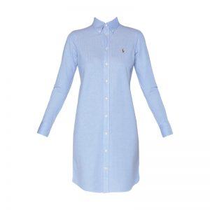 Robe chemise bleu piqué logo brodé – Ralph Lauren
