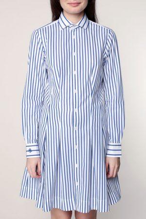 Robe chemise évasée blanche rayée bleue – Ralph Lauren