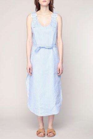 384d9e7b317 Robe bleue rayée blanche fendue bretelles à larges boucles Lizzie – Laurence  Bras
