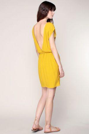 6c505b5c78d Robe jaune à dos décolleté et ceinture bijou Ketema – Sessun