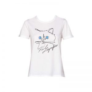 T-shirt blanc imprimé choupette/logo – KARL LAGERFELD