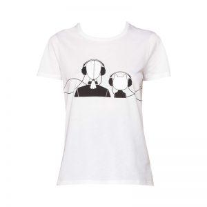 T-shirt blanc imprimé ludique/logo Choupette Music – KARL LAGERFELD