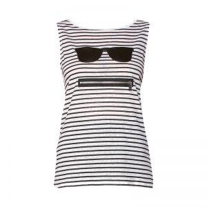 Débardeur fin en lin blanc rayé noir patch lunette/zip – KARL LAGERFELD