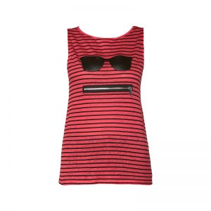 Débardeur fin en lin rouge rayé noir patch lunette/zip – KARL LAGERFELD