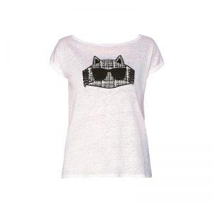 T-shirt fin en lin blanc broderie Choupette – KARL LAGERFELD