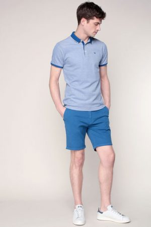 Polo bleu chiné blanc bords côtes contrastés bleus – Scotch & soda