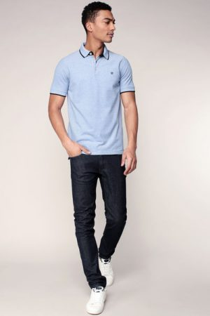 Polo bleu clair chiné logo brodé Paulos – Jack & Jones