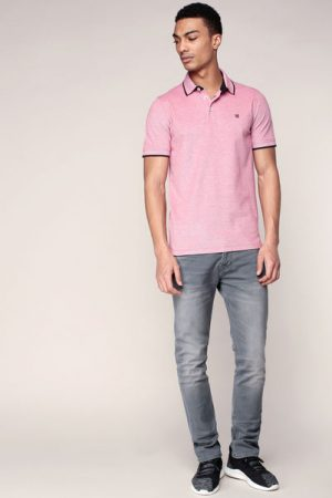 Polo rouge chiné logo brodé Paulos – Jack & Jones