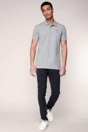 Polo gris chiné col contrasté rouge et logo brodé Costone – Jack & Jones