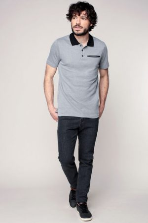 Polo gris chiné col et poche contrastés noirs Chris – Jack & Jones