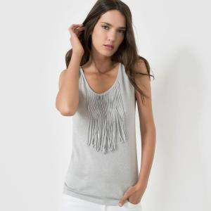 T-shirt sans manches, franges. MOLLY BRACKEN.