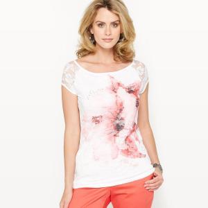 T-shirt, dentelle imprimée. ANNE WEYBURN.