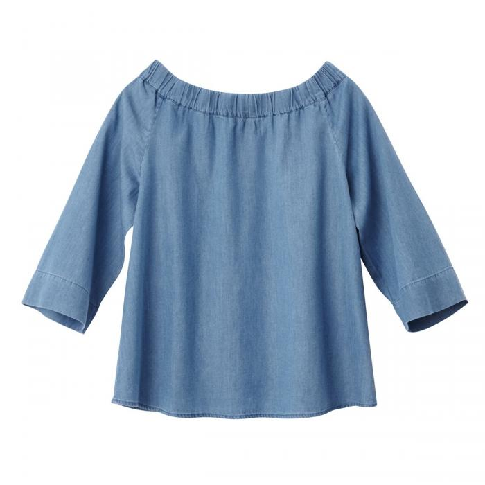 Blouse denim épaules nues. TOM TAILOR.