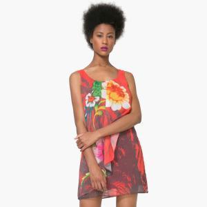 Robe courte sans manches imprimée florale. DESIGUAL.