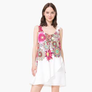 Robe courte drapée imprimée florale. DESIGUAL.