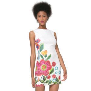 Robe sans manches moulante imprimé floral. DESIGUAL.
