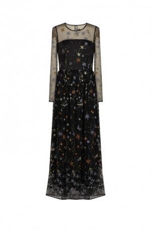 Robe longue cintrée motifs étoilés manches longues noir –