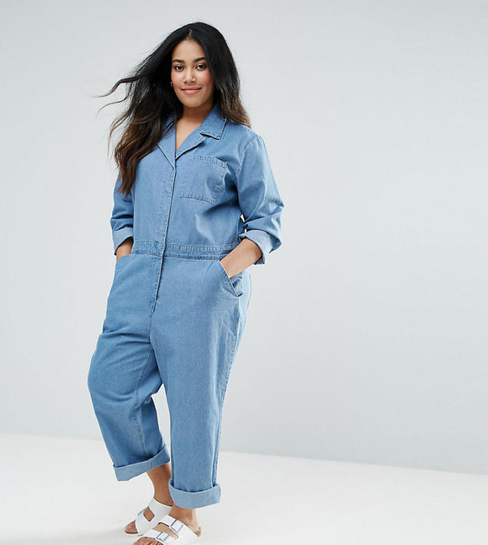 ASOS CURVE – Bleu de travail en jean – Bleu délavé moyen – Bleu