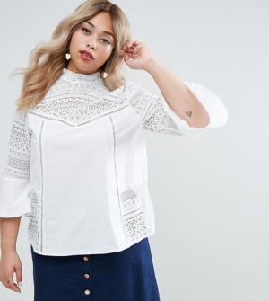 ASOS CURVE – Blouse en coton style victorien avec empiècements en dentelle – Blanc