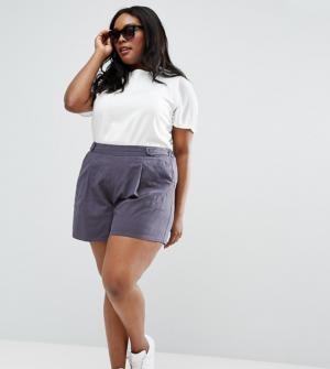 ASOS CURVE – Jupe-culotte plissée en lin – Gris