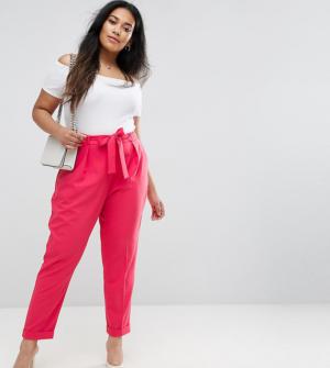 ASOS CURVE – Pantalon carotte tissé avec ceinture obi – Rose