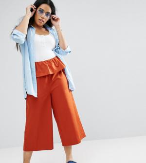 ASOS CURVE – Pantalon coupe large avec volants à la taille – Rouge