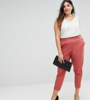 ASOS CURVE – Pantalon fuselé taille haute – Rose