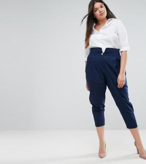 ASOS CURVE – Pantalon ultra taille-haute avec boutons style militaire – Navy