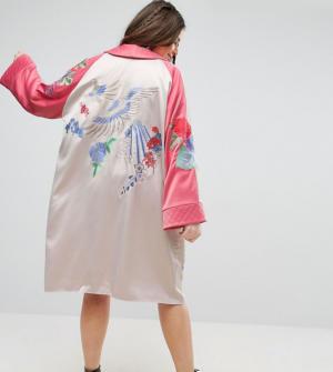 ASOS CURVE Premium – Kimono à broderies fleurs et oiseaux – Multi