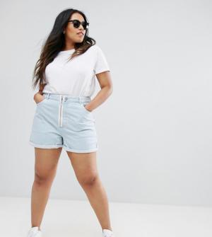 ASOS CURVE – Short mom en jean avec fermeture éclair apparente – Bleu délavé – ...