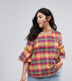 ASOS CURVE – T-shirt à manches volantées et carreaux style estival – Multi
