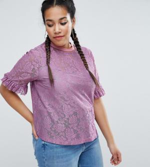 ASOS CURVE – T-shirt en dentelle avec manches volantées et liserés – Violet