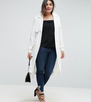 ASOS CURVE – Trench en crêpe structuré avec poches oversize – Blanc