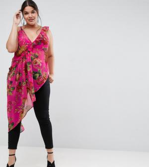 ASOS Curve – Caraco asymétrique à fleurs et volants – Rose vif – Multi
