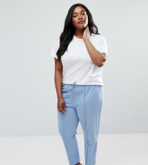 ASOS Curve – Pantalon carotte casual avec coutures fantaisie – Bleu