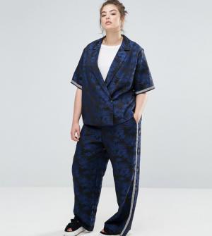 ASOS Curve – Pantalon jacquard motif palmiers – Multi