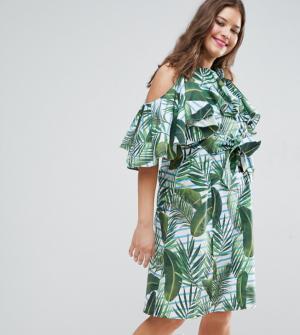 ASOS Curve – Robe d'été mi-longue à imprimé palmier et volants – Multi