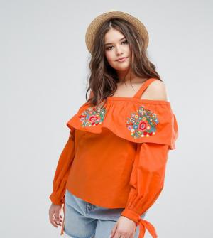 ASOS Curve – Top à épaules dénudées brodé en coton – Orange