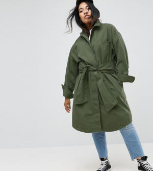 ASOS Curve – Veste en coton avec lien à nouer à la taille – Vert