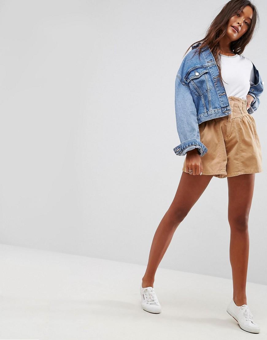 ASOS - Jupe culotte taille haute style corset - Noir
