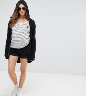 ASOS MATERNITY – Short Oxford en jean – Noir délavé – Noir