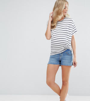 ASOS MATERNITY – Short en jean avec fentes sur les côtés – Délavage Phoebe – Bleu