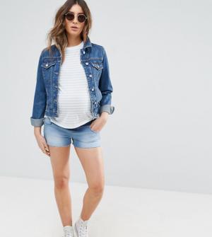 ASOS MATERNITY – Short en jean taille basse – Bleu délavé moyen – Bleu