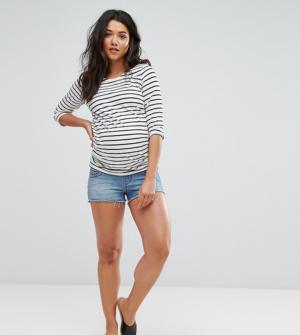 ASOS Maternity Petite – Short en jean – Bleu délavé Oxford – Bleu