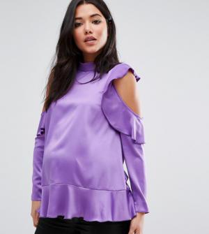 ASOS Maternity – Top en satin à volants et épaules nues – Violet