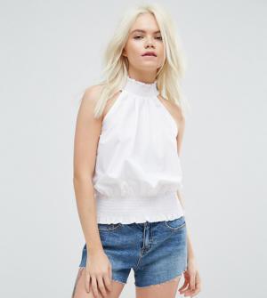 ASOS PETITE – Top habillé froncé en coton – Blanc 797e4c0781b